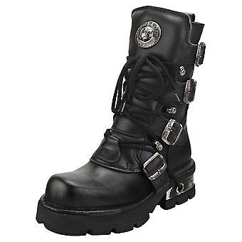 New Rock Block-heel In Metal-look Womens Platform Boots in Black