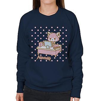 Aggretsuko Retsuko At Desk Pink Polka Dot Women's Sweatshirt
