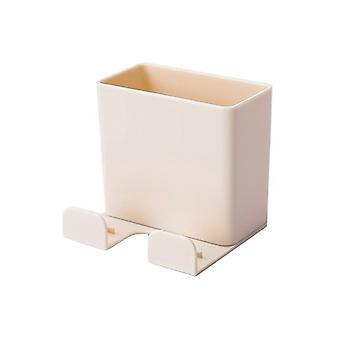 Wall-mounted ABS Remote Control Storage Rack Beige 6.5x6x6CM