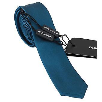 Dolce & Gabbana Mavi %100 İpek Klasik Erkek İnce Kravat - KRA7366512