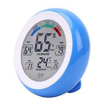 Round Touch Screen Digital Thermometer Hygrometer Blue White