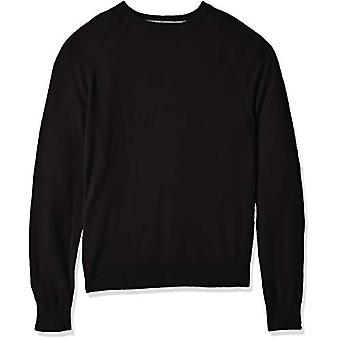 BUTTONED DOWN Men's 100% Premium Cashmere Crewneck Sweater, Black, Medium