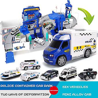 Railway Racing Tracks Parking Lot With Light Music Electric Car Truck Toys