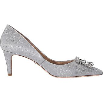 BADGLEY MISCHKA Women's Shoes Carrie Silver Fabric Pointed Toe Classic Pumps