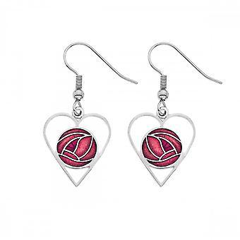 Sea Gems Mackintosh Ruusu sydän korvakorut - Punainen 7322r