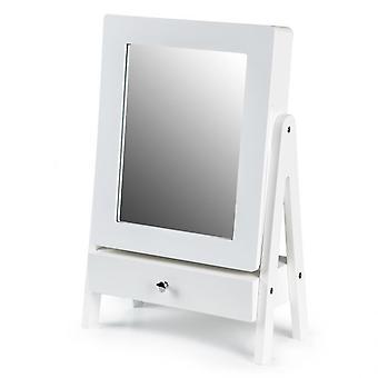 Espejo de maquillaje para tocador blanco con bandejas de joyería 28x13,5x43 cm
