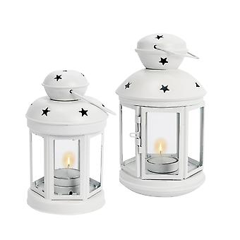 Nicola Spring Candle Lanterns Tealight Holders Metal Hanging Indoor Outdoor - White - Set of 2
