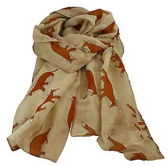 Ties Planet Fox Animal Print Karamel Beige Letvægts Kvinder's sjal tørklæde