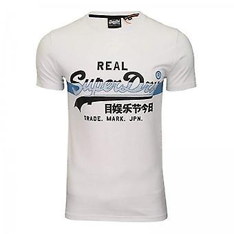 Superdry VL Cross Hatch Logo T-Shirt White 01C