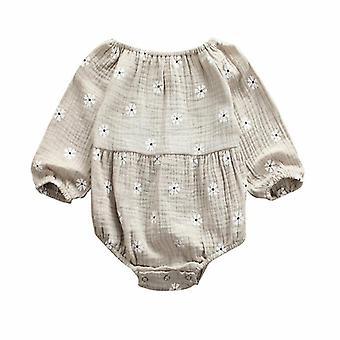 Cotton Linen Long Sleeves Off Shoulder Floral Bodysuit Jumpsuit For Newborn