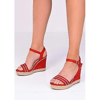 Treased Faux Suede Diamante Wedge Sandals Rouge