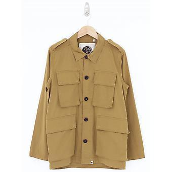 Pretty Green Four Pocket Military Overshirt - Tan