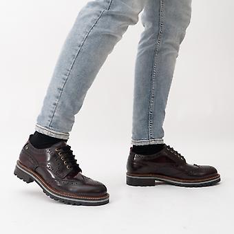 Base Londres Colver Mens Leather Brogue Shoes Bordo