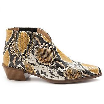 Botas amarillas Sangiorgio botines de mujer en python estampado cuero