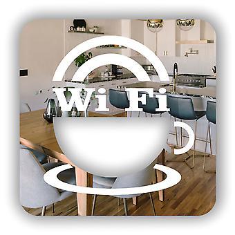 WIFI & コーヒー カップ正方形のアクリル ミラー記号