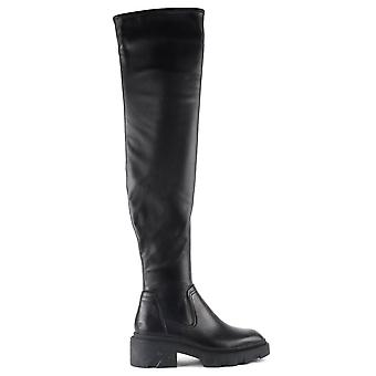 Ash MANHATTAN Thigh Chunky Sole Boots In Black