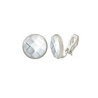 Eternal Collection Symphony Clear Chessboard Cut Austrian Crystal Silver Tone Stud Clip On Earrings