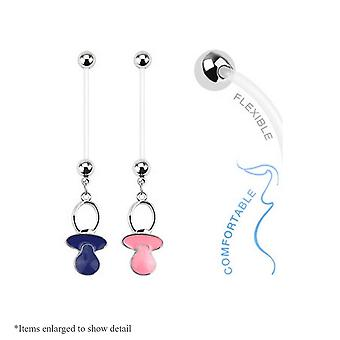 14Ga pink or blue baby pacifier dangle bioflex pregnancy navel ring