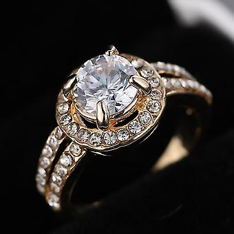 Women Gold Crystal Engagement Ring For Bride Wedding