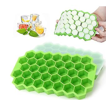 2 Pack Silicone Ice Cube Molds With Lid - Reusable And Bpa Free, 74 Ice Cubes For Whiskey, Cocktail, Stackable Flexible Safe Ice Cube Trays