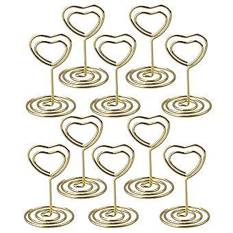 10PCS 5cm Golden Mini Heart Shape Card Memo Houder Clip voor Bruiloft