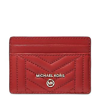 MICHAEL Michael Kors Quilted Leather Card Holder Rouge vif