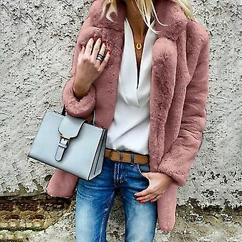 Women Faux Fur Coat Autumn Winter Fluffy Warm Plush Teddy Jackets Fashion Long
