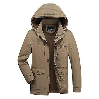 Winter Thick Parkas Jackets, Men Casual Warm Military Windproof Hooded Jackets