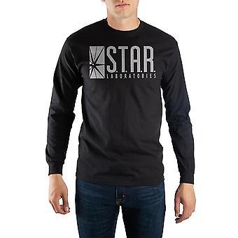 Black long sleeve flash t-shirt with star laboratories logo