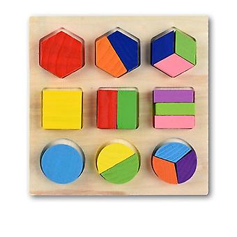 Wooden 3d Geometry Shape Cognition Puzzle For- Early Educational