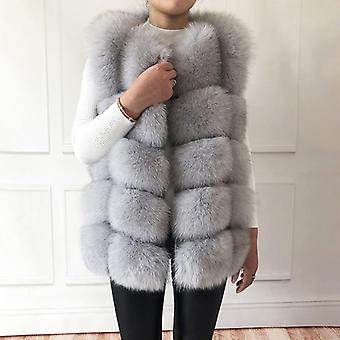 High-quality Real Fox Fur Vest 100% Natural Real Fur Genuine Leather Coat