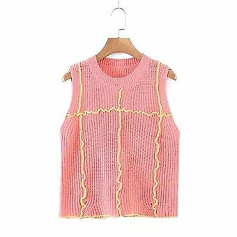 Women O-neck Patchwork Color Vest Tops
