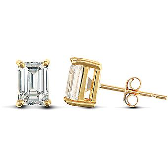 Jewelco Londyn Solid 9ct Yellow Gold White Emerald Cut Cubic Cyrkonia 4 Claw Solitaire Heavy Weight Stud Kolczyki, 7x5mm