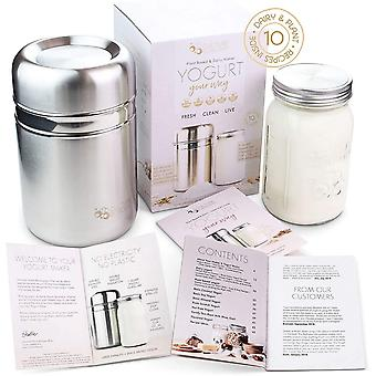 Stainless Steel Yoghurt Maker with 1 Quart Glass Jar and Complete Recipe Book