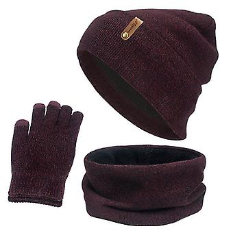 Beanies Hat, Ring Scarf, Gloves Set, Winter Knitted Thick Warm Cap, Women,