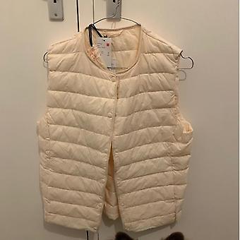 Ultra Light Duck Down Women Vest Thin Coat, Women Sleeveless Jacket, V Collar