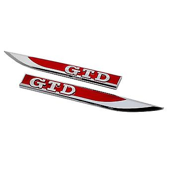 GTI Golf Polo Blades Side Wing Fender Badge Silver Chrome / Red Emblem MK4 MK5 MK6 MK7 (1 Pair)