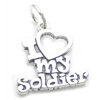 I Love My Soldier Sterling Silver Charm .925 X 1 Armed Forces Charms - 4153
