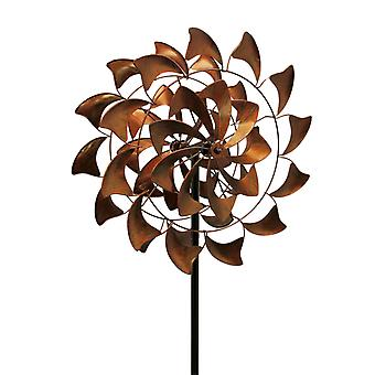 Antique Bronze Finish Metal Art Flower Kinetic Wind Spinner Garden Stake