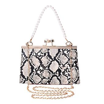 Boutique Python Pattern Clutch Crossbody Bag with Pearl Chain and Shoulder Strap