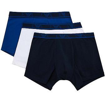 Emporio Armani Logo Stretch Cotton 3-Pack Boxer Brief, Roy Blue / White / Navy, Small