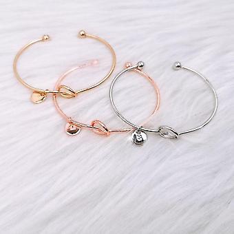 26 Letters Open Knot Cuff Bangle Bracelets