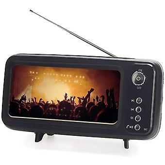 DZK Smartphone holder & Speaker & Radio Retro TV Black colour With battery