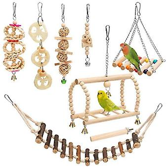 Bird Toys Set Parakeet Parrot Swing Chewing Toy With Hanging Bell