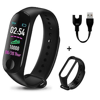 M3 Plus Smart Bracelet Heart Rate Blood Pressure Health Waterproof Smart Watch,