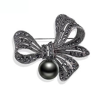 Retro Ladies Brooch Black Bow Corsage Full Diamond Scarf Clip Jewelry Brooch Pin