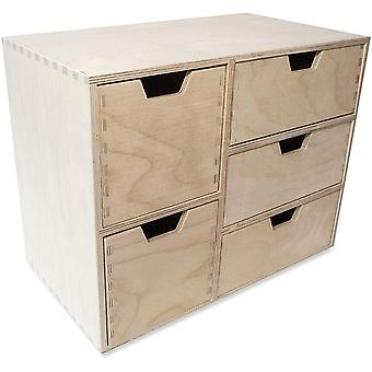 Creative Deco Schubladen-Box aus Birken-Sperrholz | 5 Schubladen | 36 x 20 x 28,5 cm (+/- 1 cm) |