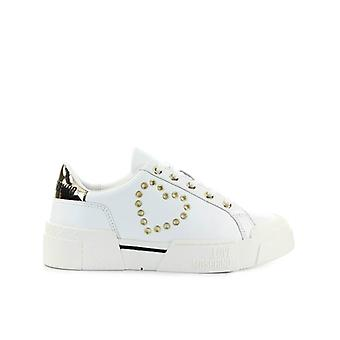 Love Moschino White Sneaker With Golden Heart