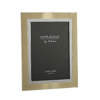 "Impressions By Juliana 2 Toned Brushed Gold & Silver 5 X 7"" Aluminium Photo Frame"