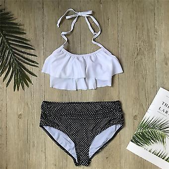 Children Bikini Set Falbala Two-pieces Swimming Suit Summer Halter Kids